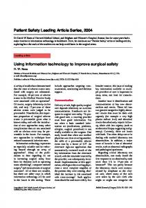 Using information technology to improve surgical safety