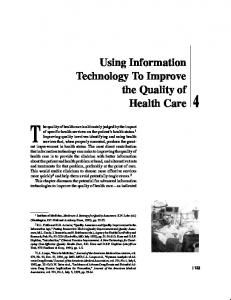 Using Information Technology To Improve the Quality of Health Care