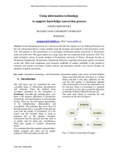 Using information technology to support knowledge ... - wseas.us