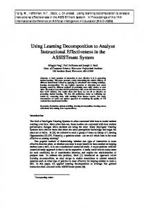 Using Learning Decomposition to Analyze ... - Computer Science