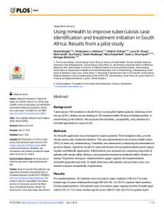 Using mHealth to improve tuberculosis case identification and ... - PLOS