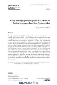 Using Netnography to Explore the Culture of Online Language ... - Eric