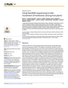 Using NextRAD sequencing to infer movement of herbivores ... - PLOS