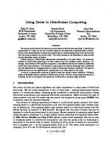Using Order in Distributed Computing - Semantic Scholar
