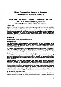 Using Pedagogical Agents to Support Collaborative ... - CiteSeerX