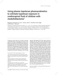 Using plasma topotecan pharmacokinetics to estimate topotecan ...
