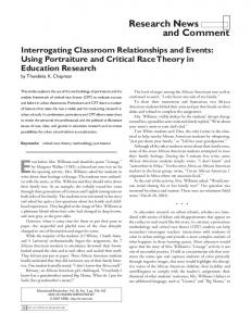 Using Portraiture and Critical Race Theory in Education Research
