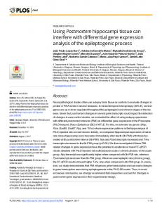 Using Postmortem hippocampi tissue can interfere with ... - PLOS