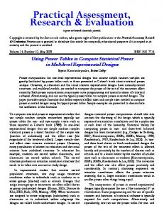 Using power tables to compute statistical power in ... - CiteSeerX