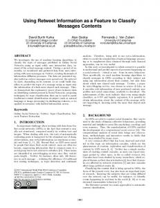 Using Retweet Information as a Feature to ... - ACM Digital Library