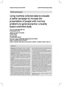 Using routinely collected data to evaluate a leaflet campaign to ...