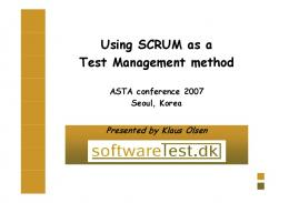 Using SCRUM as a Test Management method