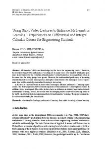Using Short Video Lectures to Enhance Mathematics Learning - ERIC