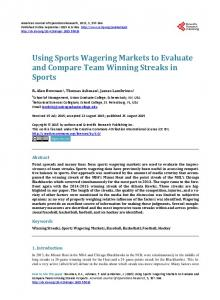 Using Sports Wagering Markets to Evaluate and Compare Team ...