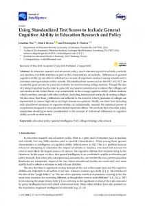 Using Standardized Test Scores to Include General Cognitive ... - MDPI
