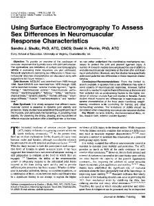 Using Surface Electromyography To Assess Sex ... - Semantic Scholar