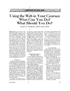 Using the web in your courses: What can you do? What should you ...