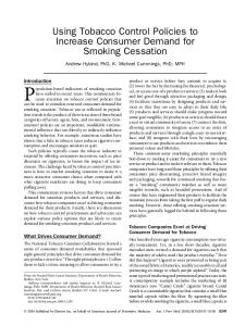 Using Tobacco Control Policies to Increase Consumer Demand for ...