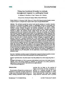 Using tree functional diversity to evaluate ... - Wiley Online Library