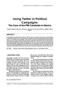Using Twitter in Political Campaigns
