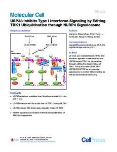 USP38 Inhibits Type I Interferon Signaling by Editing ... - Cell Press