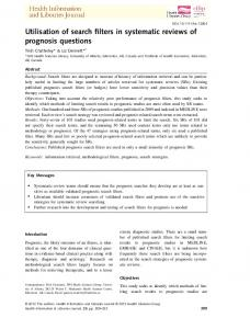 Utilisation of search filters in systematic reviews ... - Wiley Online Library
