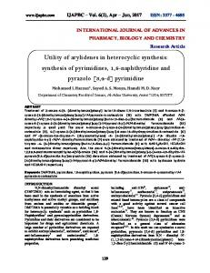 Utility of arylidenes in heterocyclic synthesis: synthesis of pyrimidines ...