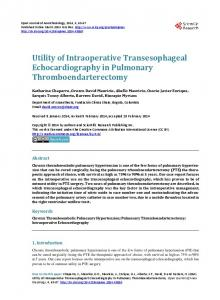 Utility of Intraoperative Transesophageal Echocardiography in ...
