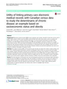 Utility of linking primary care electronic medical records with Canadian ...