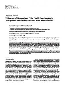Utilization of Maternal and Child Health Care Services by Primigravida ...