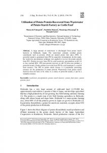 Utilization of Potato Protein Recovered From Wastewater of Potato