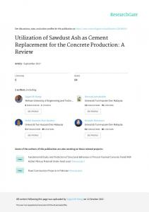 Utilization of Sawdust Ash as Cement Replacement