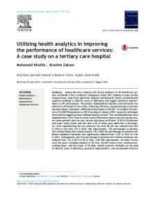 Utilizing health analytics in improving the performance of healthcare ...