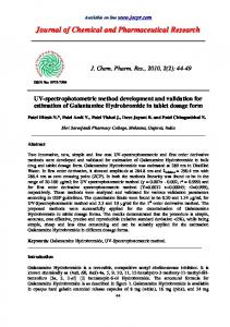 UV-spectrophotometric method development and validation for ...