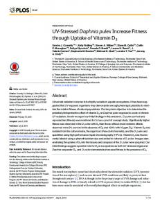 UV-Stressed Daphnia pulex Increase Fitness through Uptake of ...