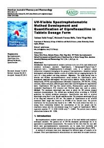 UV-Visible Spectrophotometric Method Development and ... - AASCIT