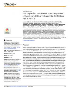 V1V2-specific complement activating serum IgG as a correlate ... - PLOS