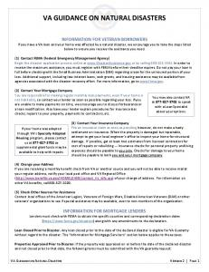 VA GUIDANCE ON NATURAL DISASTERS
