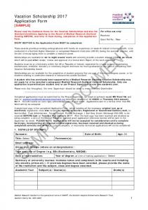 Vacation Scholarship Application Form SAMPLE ONLY