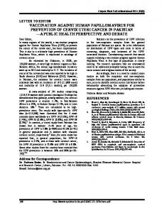 vaccination against human papillomavirus for prevention of cervix uteri ...
