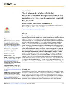 Vaccination with whole-cell killed or recombinant leishmanial ... - PLOS