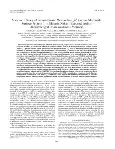 Vaccine Efficacy of Recombinant Plasmodium falciparum Merozoite ...