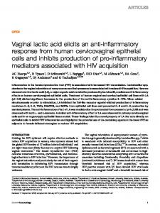 Vaginal lactic acid elicits an anti-inflammatory response from human ...