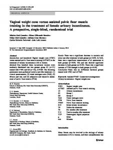Vaginal weight cone versus assisted pelvic floor ... - Springer Link