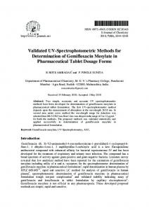 Validated UV-Spectrophotometric Methods for ... - Hindawi