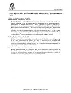 Validating Content of a Sustainable Design Rubric Using ... - Asee peer