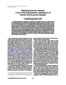 Validating Internet research: A test of the psychometric equivalence of ...