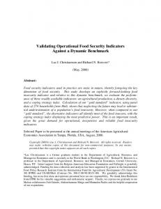 Validating Operational Food Security Indicators ... - AgEcon Search