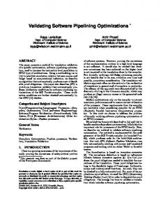 Validating Software Pipelining Optimizations - NYU Computer Science