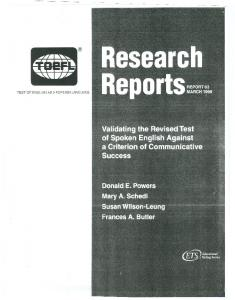 Validating the Revised Test of Spoken English Against a ... - ETS